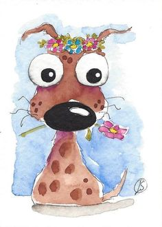 ACEO Original watercolor painting Lucia Stewart whimsical brown dog flowers #IllustrationArt