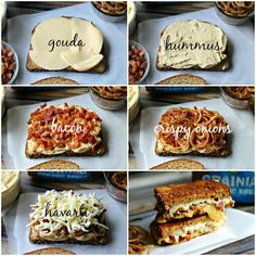 Hungry Harps: Hummus and Bacon Grilled Cheese Sandwich with Crispy Onions {Arla Dofino Recipes}