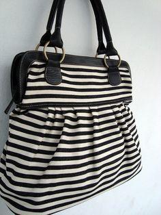 Black white denim handbag