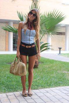 Love the shorts and top, but not the glasses and shoes so much.