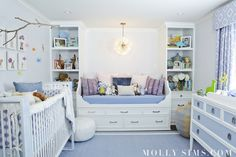 light blue and white nursery