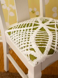 Repurpose a vintage chenille bedspread. Use it to upholster chair seats for a refreshing new look.