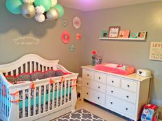 Coral and Gray Nursery with pops of aqua
