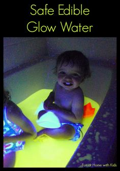 Finally a recipe for glow water that is safe -- even edible!  It's super easy to make (no staining!) and is affordable to boot!  Safe for even the littlest explorers.  From Fun at Home with Kids