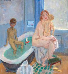 Jan Sluijters  Rob and Liesje in the Bathroom, 1949 #bathroom #kids #art #nudes