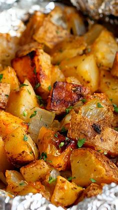 Grilled Rosemary Onion Potatoes ~  Grilled potatoes are golden brown and tender, and steeped in the flavors of grilled onions, garlic, rosemary and smoked paprika.