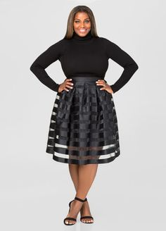 Sheer Stripe Pleat Skirt