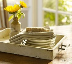 chippy tray: Wooden painted tray with handles. I'd love to find a drawer and repurpose it like this and buy a vintage looking handle for it.