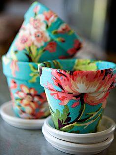 VAso de ceramica forrado de tecido
