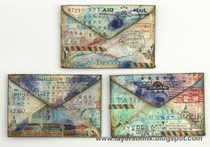 Layers of ink - Mixed Media Envelopes Tutorial by Anna-Karin using Tim Holtz, Ranger, Idea-ology, Sizzix and Stamper's Anonymous projects; Apr 2015