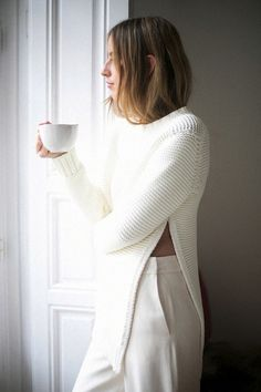 all-white look // side split sweater and high-waisted pants