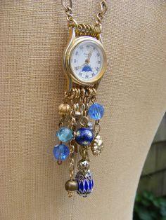Starry Night - Upcyled Watch Face Necklace. $48.00, via Etsy.