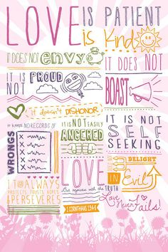 #Beautiful, #inspirational christian #poster with the world-famous words from the #Bible about #LOVE in 1 Corinthians 13 - #quotes, #scripture.