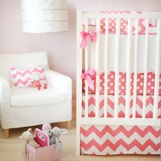 Sweet And Feminine Baby Girls Bedding Sets : Lovely Pink Sugar Zig Zag and Polkadot Three Piece Crib Baby Girls Bedding Set Inspiration in V...