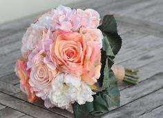 Blush pink hydrangea coral roses and ivory by Hollysflowershoppe