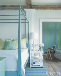 2- Aqua and green-Olivias Bedframe-not decor