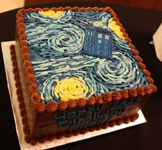 Doctor Who Party - TARDIS Starry Night cake by Stuffed Cakes