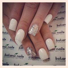 White With Sparkle/ glitter accent Nail. Nails  Check out this website