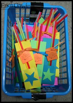 What a cute idea!!! They are glow sticks with a tag from the teacher wishing the students a 'bright' year for the first day of school.  Love it!