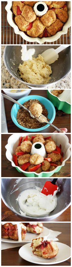 ... with this strawberry monkey bread coated with a cream cheese glaze