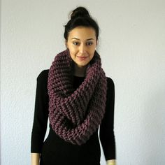 Chunky knit infinity scarf... looks like wearing a snugly afghan! Handmade from etsy.