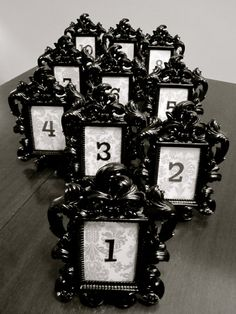 Black Baroque & Damask Wedding Table Number with Frame // Set of 5, 10, 15, 20 Table Numbers