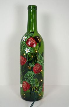 Hand Painted Wine Bottle Light