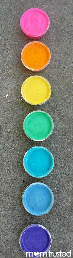 Homemade Sidewalk Paint, just flour, water, and food coloring
