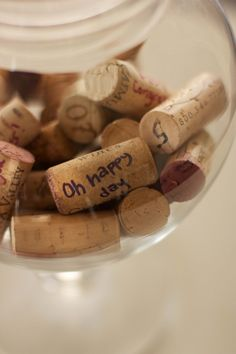 Wine corks for wedding guestbook? kind of a neat idea.
