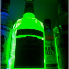 You can use an old whiskey or wine bottle, fill it up with water, and put a highlighter cartridge in it, it lights up forever!! Unique lighting people!! For camping or late nights at the beach? Leave 1/4 of Mountain dew in bottle (just dont drink it all), add a tiny bit of baking soda and 3 caps of peroxide. Put the lid on and shake - walla! Homemade glow stick (bottle) solution.