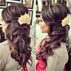 half up, half down hairstyle with braids - the flower accessories make it perfect for spring/summer too!