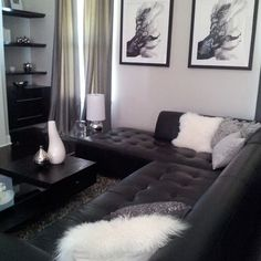 Best Living Room With Gray Walls Brown Leather Couch The Fat 400 x 300