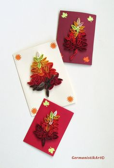 Autumn Set of 3 Quilling Cards With Quilled Leaves in Fall Colors, Handmade Greeting Card on Etsy, $15.00
