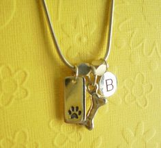 Dog Paw Necklace  Bone & Initial Coin  Personalized by bybets, $72.00