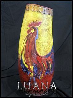 Proud Rooster Hand Painted Gourd by Luana by LuanasPaintedGourds, $275.00