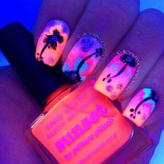 sunset, summer fun, nail polish art manicure
