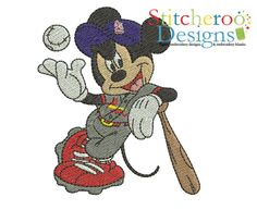 Play Ball Mickey Filled embroidery design.