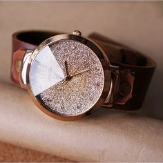 leather band with a glittered face.