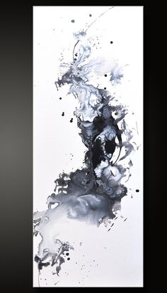 Abstract Acrylic Painting - Black White Contemporary Fine Wall Art