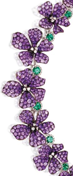 Amethyst, diamond, and emerald violet necklace