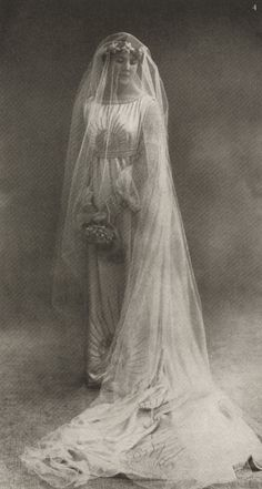 La Mere Lanvin's dreams for her daughter were realized when she married well to the Count Jean de Polignac and became the Countess Marie-Blanche de Polignac.   Marie-Blanche in her wedding dress by la Mere Lanvin.