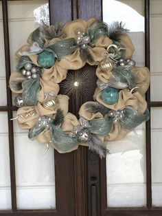 Silver and blue christmas burlap wreath shinny and sparkling elegant