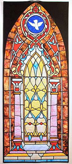 """Chapel Stained Glass, ~ 42"""" x 17"""", textile wall hanging by Sara Sharp"""