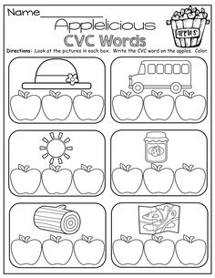 CVC Words! Write the letter to match the picture for each CVC word!