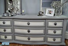 refurbished dresser in grey/white