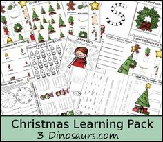 Free Christmas Learning Pack - Language and Math for ages 2 to 9 - 3Dinosaurs.com