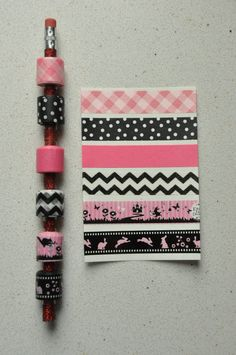 Washi tape pencil sampler  Pink and Black  deco by vanessasfancy, $5.00
