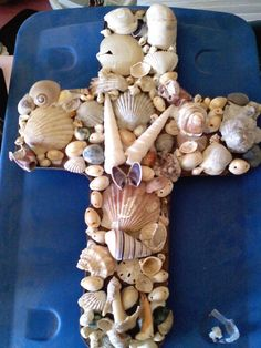 Shells Cross - made with broken and whole shells found on the Texas Gulf Coast