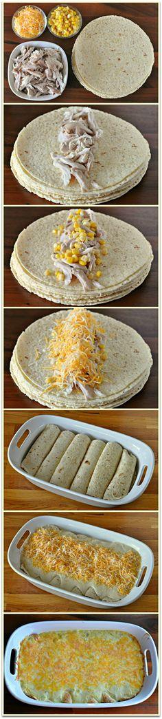 white chicken enchilada recipe..but will use flour tortillas instead of corn.