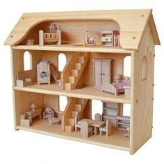 Seri's Wooden Dollhouse made in Maine. Plan Toys Dollhouse Furniture. From Bella Luna Toys.